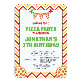 Chevron Pizza Party Invitation