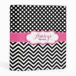 Chevron Polka Dots Black Pink Personalized Recipe Mini Binder