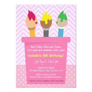 Chevron Polka Dots Painting Arts Birthday Party Card