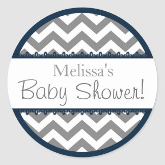 Chevron Print and Navy Contrast Baby Shower Classic Round Sticker