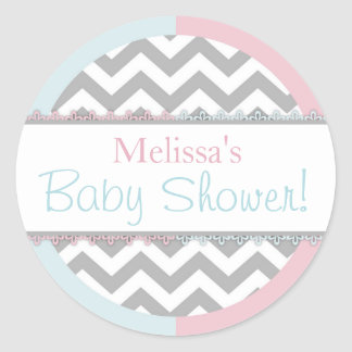 Chevron Print Baby Blue Pink Contrast Baby Shower Classic Round Sticker