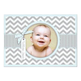 Chevron Print Birth Announcement Photo Card A7-BL