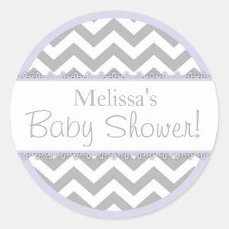 Chevron Print & Lavender Contrast Baby Shower Classic Round Sticker