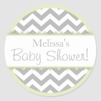 Chevron Print & Mint Green Contrast Baby Shower Classic Round Sticker