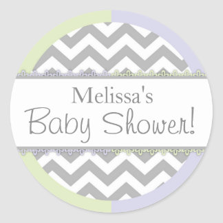 Chevron Print Mint Lavender Contrast Baby Shower Classic Round Sticker