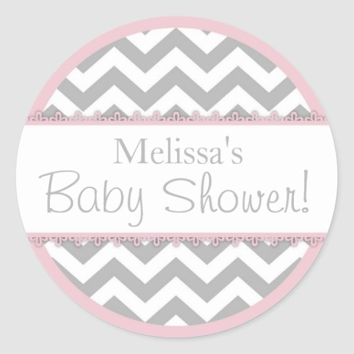 Chevron Print Pink Contrast Baby Shower Stickers
