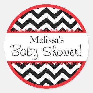 Chevron Print & Red Contrast Baby Shower Classic Round Sticker