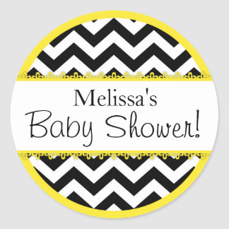 Chevron Print & Yellow Contrast Baby Shower Classic Round Sticker