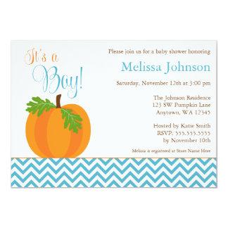 Chevron Pumpkin Fall Boy Baby Shower Invitation