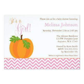 Chevron Pumpkin Fall Girl Baby Shower Invitation