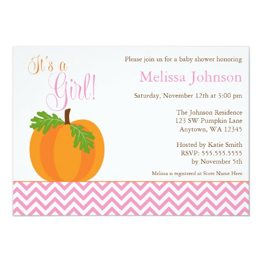 chevron pumpkin fall girl baby shower invitation zazzle