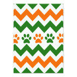 Chevron Puppy Paw Prints Orange Lime Dog Lover 5x7 Paper Invitation Card