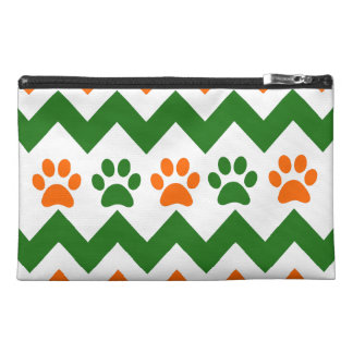 Chevron Puppy Paw Prints Orange Lime Dog Lover Travel Accessory Bag