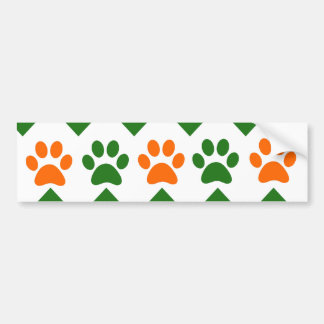 Chevron Puppy Paw Prints Orange Lime Dog Lover Bumper Sticker