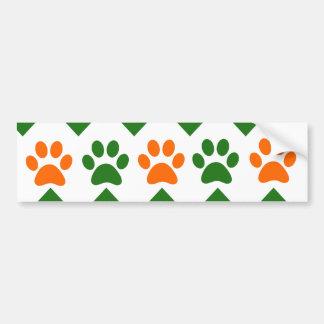 Chevron Puppy Paw Prints Orange Lime Dog Lover Bumper Stickers