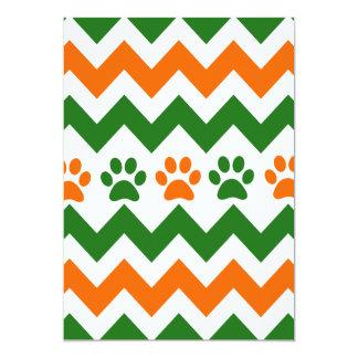 Chevron Puppy Paw Prints Orange Lime Dog Lover Card