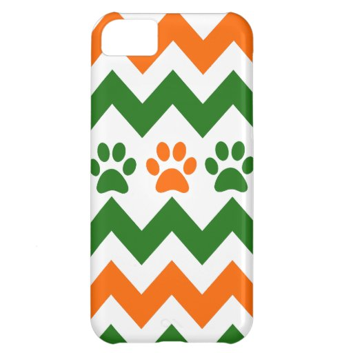 Chevron Puppy Paw Prints Orange Lime Dog Lover iPhone 5C Case