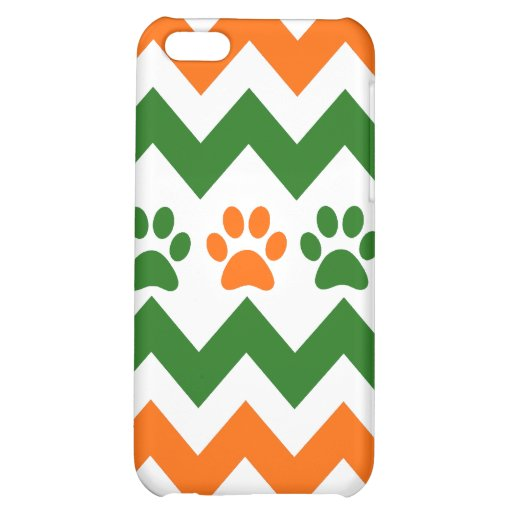 Chevron Puppy Paw Prints Orange Lime Dog Lover Case For iPhone 5C