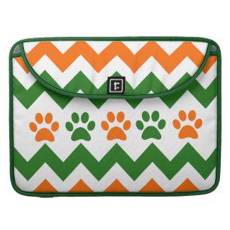 Chevron Puppy Paw Prints Orange Lime Dog Lover MacBook Pro Sleeves