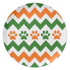 Chevron Puppy Paw Prints Orange Lime Dog Lover Plate