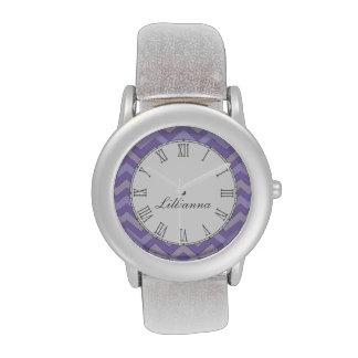 Chevron purple and grey print name wrist watch