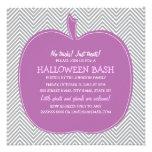 Chevron Purple Pumpkin Halloween Party Invite