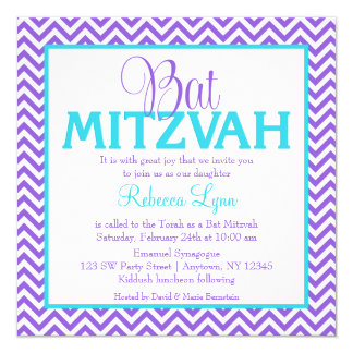 Chevron Purple Teal Blue Bat Mitzvah Invitation