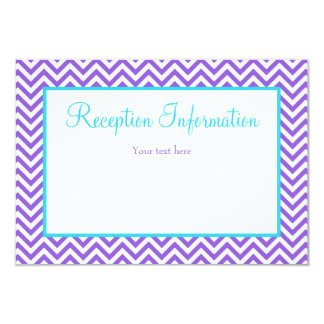 Chevron Purple Teal Blue Bat Mitzvah Reception Card