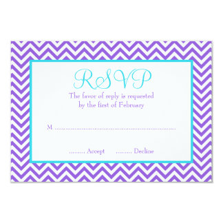 Chevron Purple Teal Blue Bat Mitzvah RSVP Card