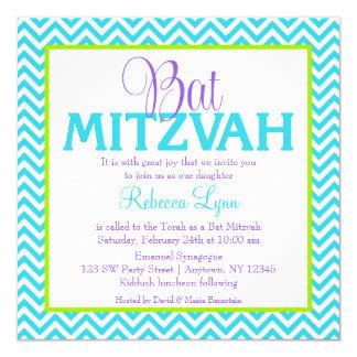 Chevron Purple Teal Blue Green Bat Mitzvah Card