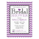 Chevron Purple & White Bridal Shower Invitations