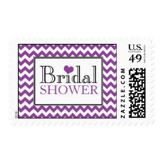 Chevron Purple White Bridal Shower Postage Stamps