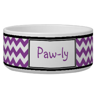 Chevron Purple & White Personalized Dog Bowl