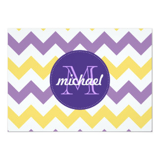 Chevron Purple Yellow Monogrammed Circle Stitches Card