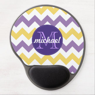Chevron Purple Yellow Monogrammed Circle Stitches Gel Mouse Pad