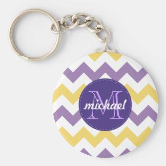 Chevron Purple Yellow Monogrammed Circle Stitches Keychain