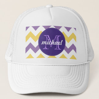 Chevron Purple Yellow Monogrammed Circle Stitches Trucker Hat