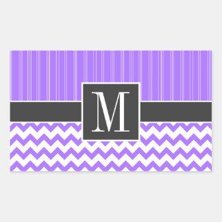 Chevron púrpura de moda pegatina rectangular