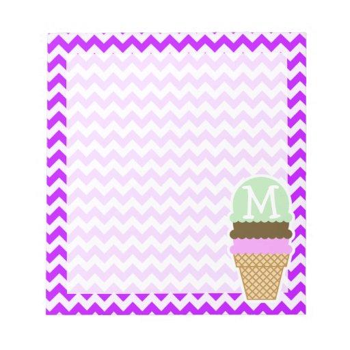 Chevron púrpura eléctrico; Cono de helado Bloc De Papel