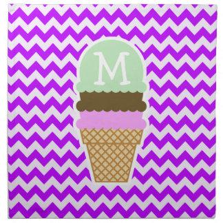 Chevron púrpura eléctrico; Cono de helado Servilleta