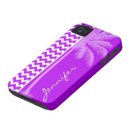 Chevron púrpura eléctrico; zigzag; Palma Case-Mate iPhone 4 Cobertura
