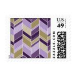 - Chevron - púrpura geométrica y oro Timbres Postales