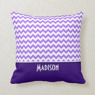 Chevron púrpura moderno cojín