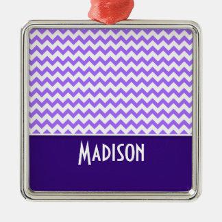 Chevron púrpura moderno adorno de navidad