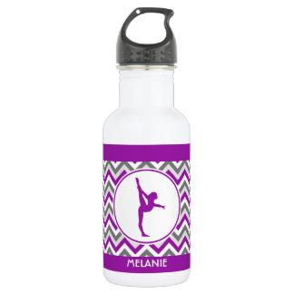 Chevron púrpura raya la gimnasia con el monograma