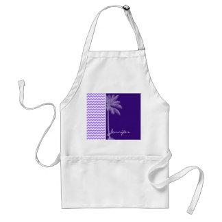 Chevron púrpura tropical delantal