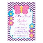 Chevron púrpura y fiesta de cumpleaños rosada de invitación 12,7 x 17,8 cm