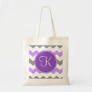 Chevron púrpura y gris con el monograma púrpura bolsa tela barata