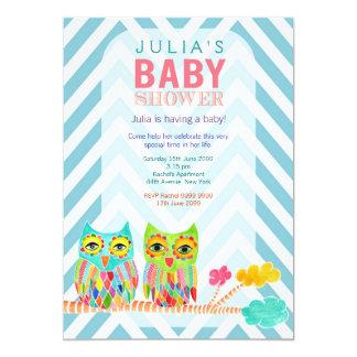 "Chevron Rainbow Owls in Tree Baby Shower Invite 5"" X 7"" Invitation Card"