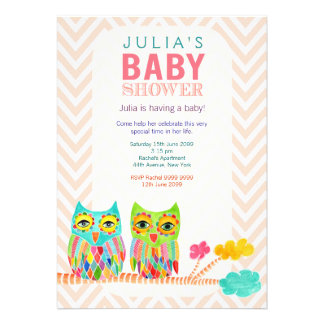 Chevron Rainbow Owls in Tree Baby Shower Invite